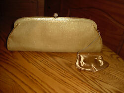 HL Vintage Clutch Gold Evening Bag with Coin purse Made in USA $9.99
