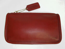 Coach Vintage Chunky Case 7165 Dark Blood Red Ticking Lining USA Cosmetic Pouch $58.00