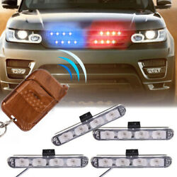 Red And Blue Car Truck Dash Strobe Flash Light Emergency Police Warning Lamps 4in1