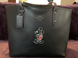 LTD ORIGINAL Coach x DISNEY Mickey Mouse City Tote BLACK Leather Red Lining NWOT $375.00