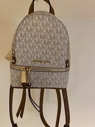 Michael Kors Authentic Backpack Rhea Zip Vanilla XS Mini Messenger Brand New $208.00