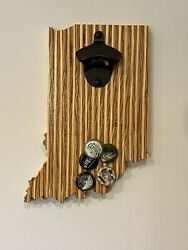 Indiana Wall Mount Bottle Opener With Magnetic Cap Catcher