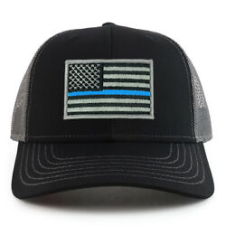 Thin Blue Line American Flag Patch Two Tone Mesh Back Trucker Cap - Free Ship