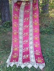 Best 2 Antique Silk Hand Embroidered Curtains String Lace Bedspread French