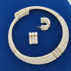 Stunner Cultured Pearl Choker Necklace 14k Gold Matching Earrings Fit 4 A Queen