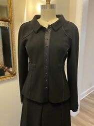 Suit Black Jacket And Pants Size 42 Classic Timeless