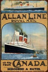1913 Allan Line Royal Mail To And From Canada Maritime Poster Metal Tin Sign