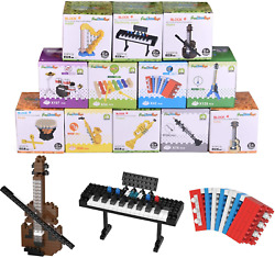 Fun Little Toys 12 Boxes Mini Music Building Blocks Musical Instruments Set For