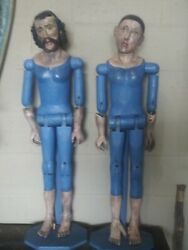 1930s Santos Joseph And Mary Approx 35in Tall Antique Dolls