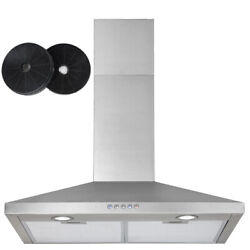 30 Wall Mount Range Hood Stainless Steel Top Exhaust Vent Fan Carbon Filter