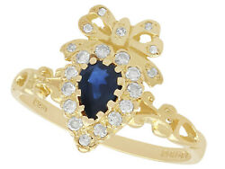 Vintage 1970s Sapphire And Diamond 18carat Yellow Gold Dress Ring Size R1/2