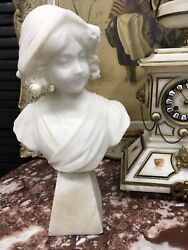 """Lovely Antique Alabaster Lady Bust Hand Carved Finely Detailed 15 1/2"""" Tall"""