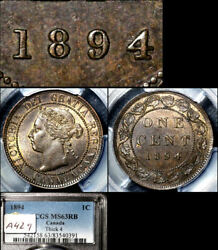 Elite Varieties Canada Large Cent 1894 Thick 4 - Pcgs Ms63 A429