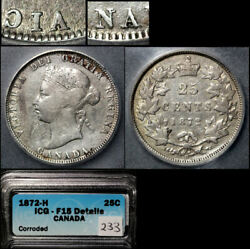 Elite Varieties Canada 25 Cents - 1872h Inverted A/v - F15 Very Rare A517