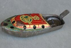 Vintage Anchor Mark Small Pop - Pop Litho Steam Boat Tin Toy , Japan