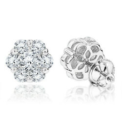 1.90ct Natural Diamond G-h Cluster Stud Earring In 14k White Gold Si1 Wedding