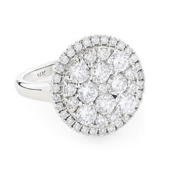 2.84ct Natural Diamond K-l Cluster Ring In 14k White Gold Si2 For Engagement