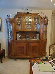 Antique China Cabinet Imported From Italy Beveled Leaded Glass-ormolu-inlay-burl