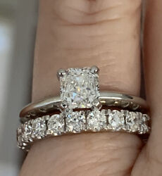 6970 Gia Certified Platinum 1.00ct Radiant Cushion Diamond Solitaire I1/h Ring