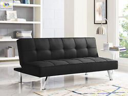 3-seat Multi-function Upholstery Fabric Sofa Black Couch Futon Convertible