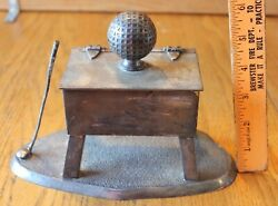 Antique Silver Plated Golf Ball Cigarette Box Derby S P International Silver Co