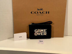 Coach F73399 Pac Man Game Over Zip Wristlet Leather Black NWT $37.48