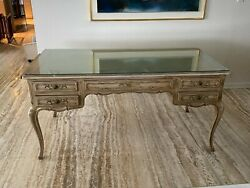 Vintage Louis Xvi Executive Or Writing Desk With Leather Top
