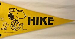 Vintage 1965 Snoopy Woodstock Yellow Pennant Flag Hike Collectible Gift
