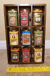 Lot Of 9 Vintage Style Tin Spice Containers And Wooden Rack By Case Manufacturing