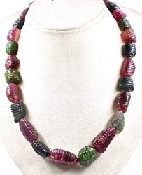 Natural Multi Colour Tourmaline Beads Carved Cabochon 849 Carats Ladies Necklace