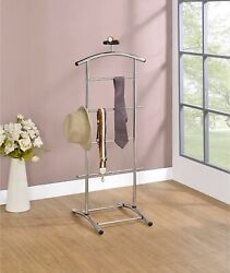 Kings Brand Furniture - Lebedev Metal Suit Valet Stand, Clothes Rack, Chrome