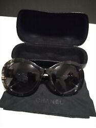 chanel sunglasses 5372 black and clear oval with hard case $175.00