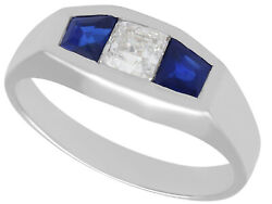 0.30ct Diamond And 0.62ct Sapphire 18ct White Gold Ring - Art Deco - Antique