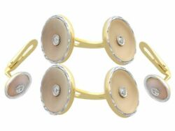 Antique Diamond And Crystal 14k Yellow Gold And Platinum Cufflink And Stud Set