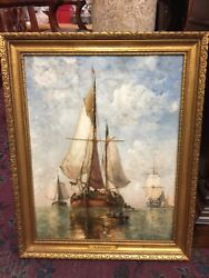 Signed Marine Oil Painting By P J Clays Belgium Artist 1818-1900