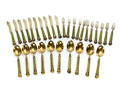 30pc Harrison Bros And Crichton Bros English Sterling Silver Flatware Set For 10
