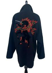 Ooak Rare Christian Dior 1950s/60s Unicorn Embroidered Wool Coat Jacket L Museum