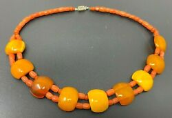Vintage Natural Red Coral Butterscotch Amber Beaded Necklace 18