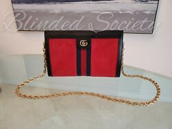 Gucci Ophidia Small Chain Shoulder Bag Black Patent Leather Red Suede $2100 $1450.00