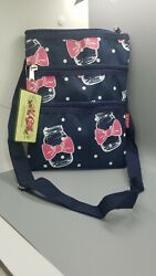N Gil Mason Jar Pink Ribbon Zippers Cross Bag Navy Blue Adjustable Strap $9.79