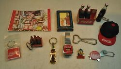 Lot Of 14 Vintage Coke Coca Cola Key Chains, Small Bottles, Watch, Post Card ++