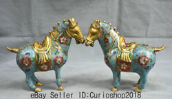 7.6 Old China Dynasty Cloisonne Enamel Copper Feng Shui War Horse Statue Pair