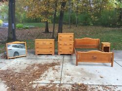Virginia House - Covered Wagon Bedroom Set - 1950's Bed Chest Dresser Nightstand