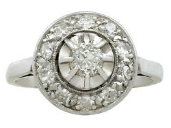 1920and039s 0.50 Ct G Colour Diamond And 18carat White Gold Cluster Ring Size J 1/2