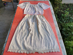 Old Antique Primitive Womenand039s Shirt And Skirt Lace Under Clothes Hand Sewing