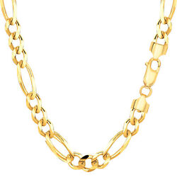 14k Yellow Solid Gold Figaro Chain Width 6.0mm