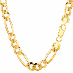 14k Yellow Solid Gold Figaro Chain Width 7.0mm