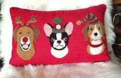 Envogue Holiday Dogs Boston Christmas Blessed decorative pillow velvet Red Puppy