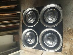4 Vintage Chevrolet Rally Wheel Centers And Hub Cap Rings 3925805 552504