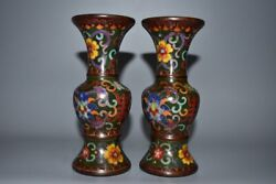 6.4 Pair Antique Old China Bronze Cloisonne Flower Vase Asian Collections